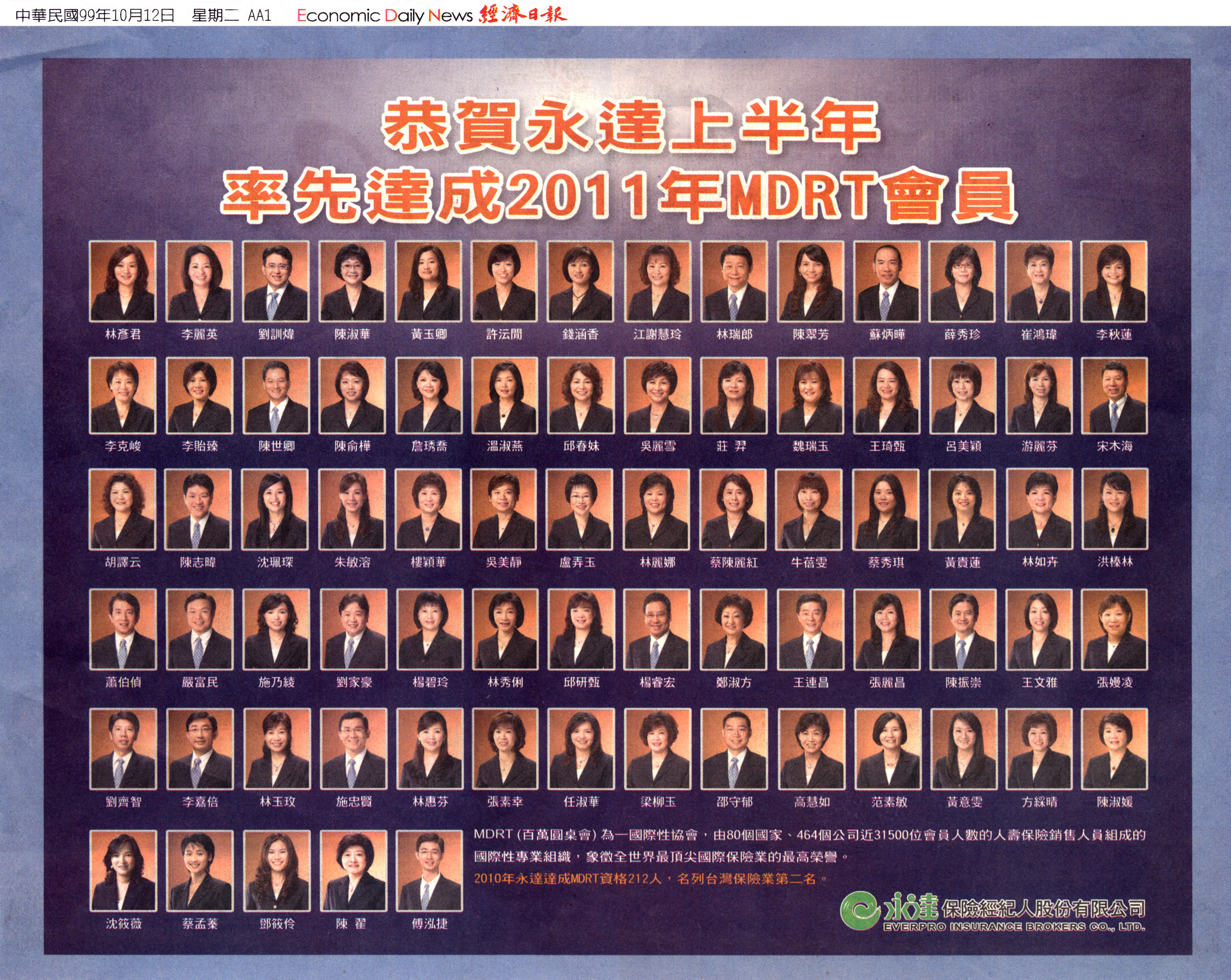 恭賀永達上半年率先達成2011年MDRT會員—經濟日報圖檔