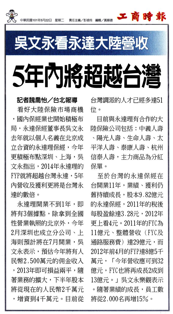 吳文永看永達大陸營收 5年內將超越台灣