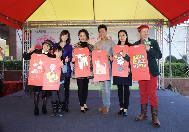 (左起)紀寶如、童星-李柔蓁、李依瑾、陳亞蘭、林俊逸、黃韻玲及主持人陳凱倫。