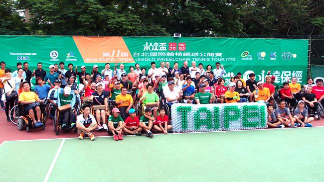 ▲永達盃第十一屆台北國際輪椅網球公開賽全員與裁判、工作人員合影。