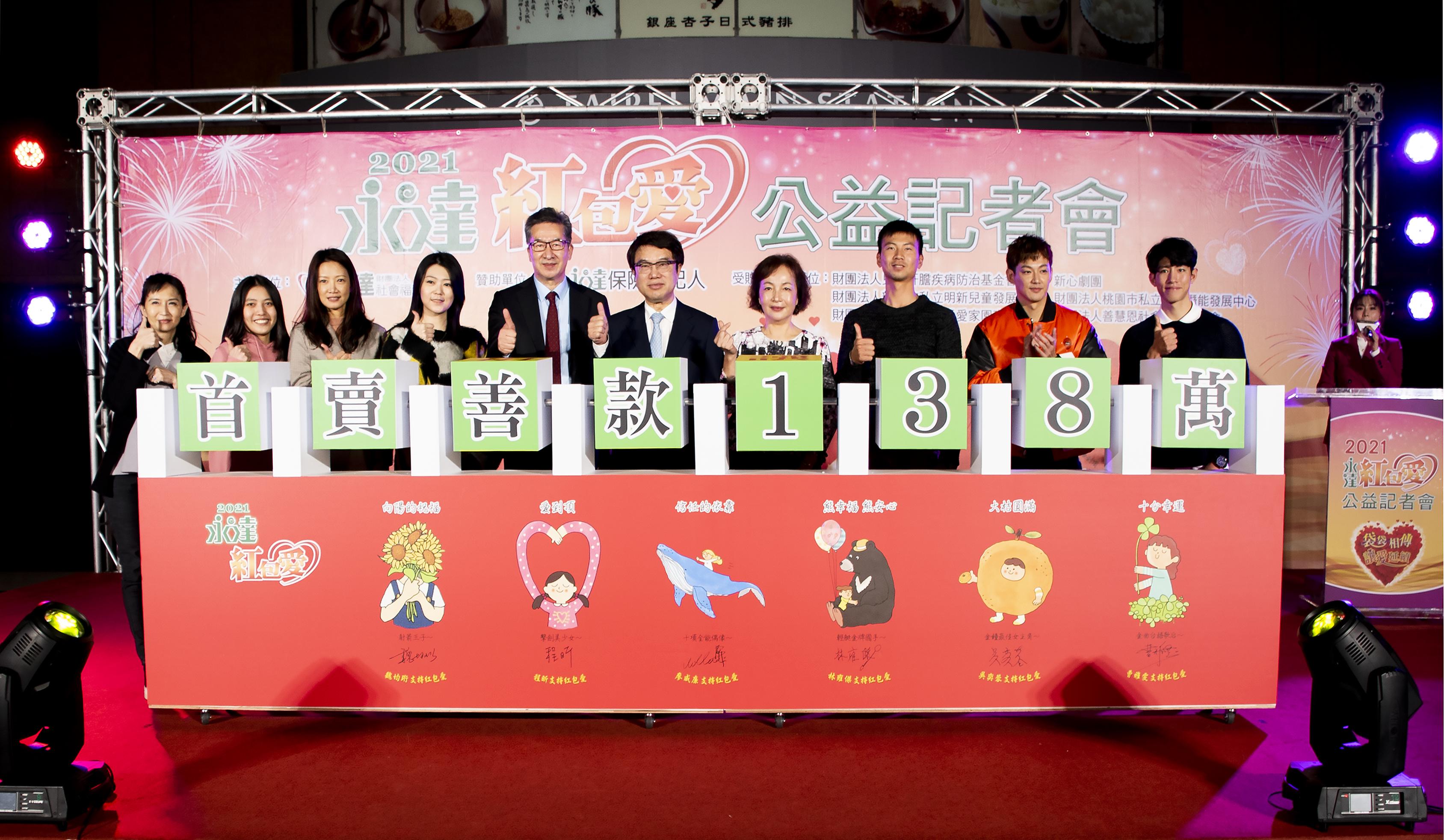 2021永達紅包愛在吳文永董事長及愛心大使的推廣下,首賣突破138萬獲得圓滿成功。