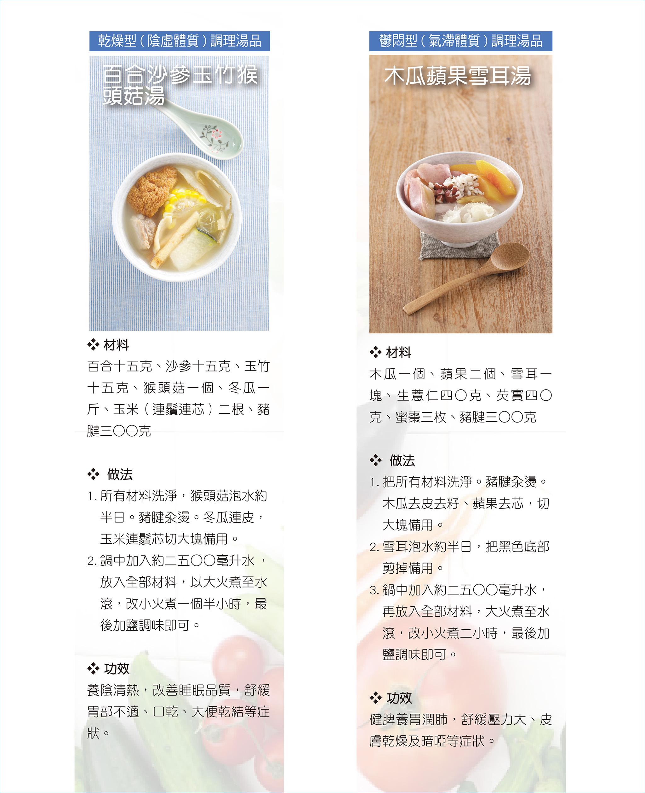 左:百合沙參玉竹猴頭菇湯、右:木瓜蘋果雪耳湯。