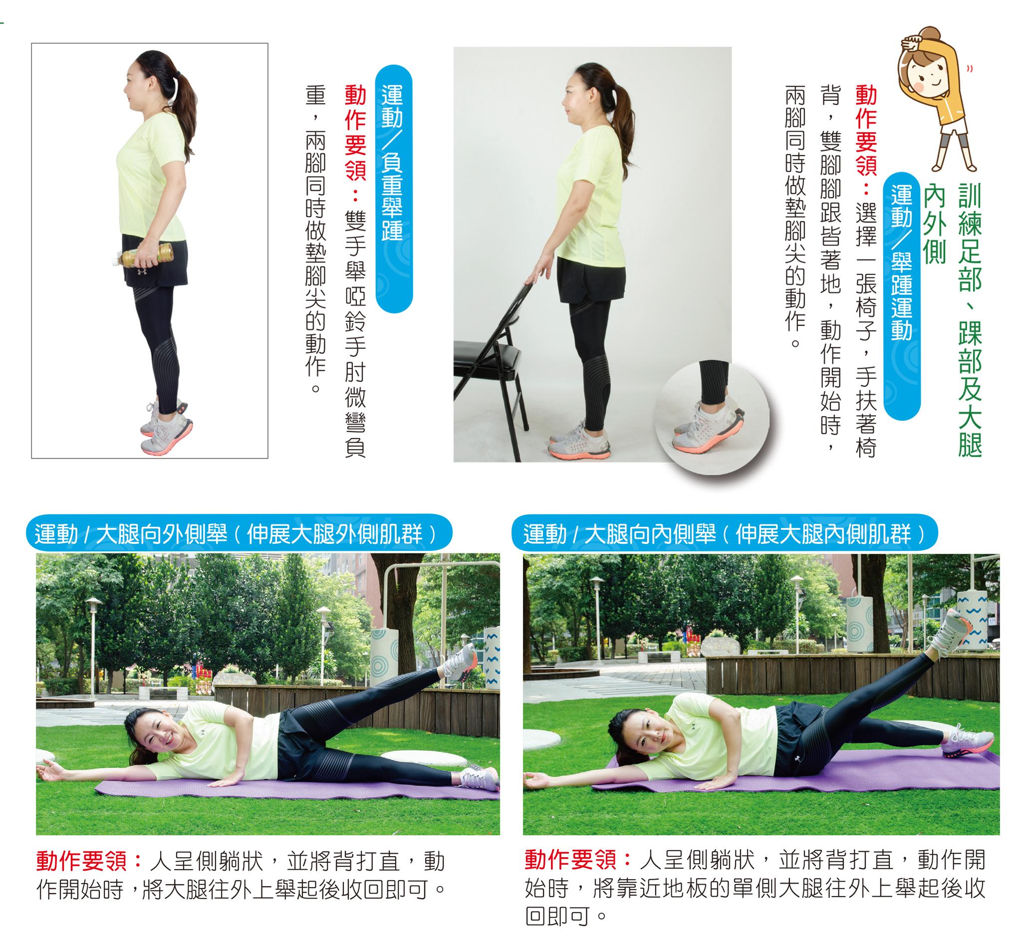 訓練足部、踝部及大腿內外側。