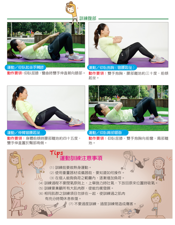 訓練腹部(上)及運動訓練注意事項(下)。