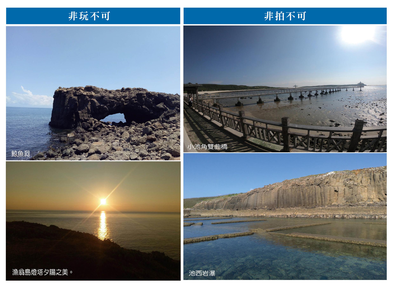 非玩不可:鯨魚洞(左上)、漁翁島燈塔夕陽之美(左下);非拍不可:小池角雙曲橋(右上)、池西岩瀑(右下)。