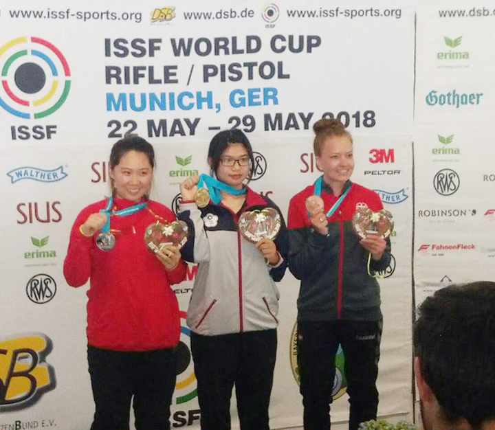 林穎欣拿下德國慕尼黑世界盃女子空氣步槍金牌。(圖片來源/國際射總官網)。