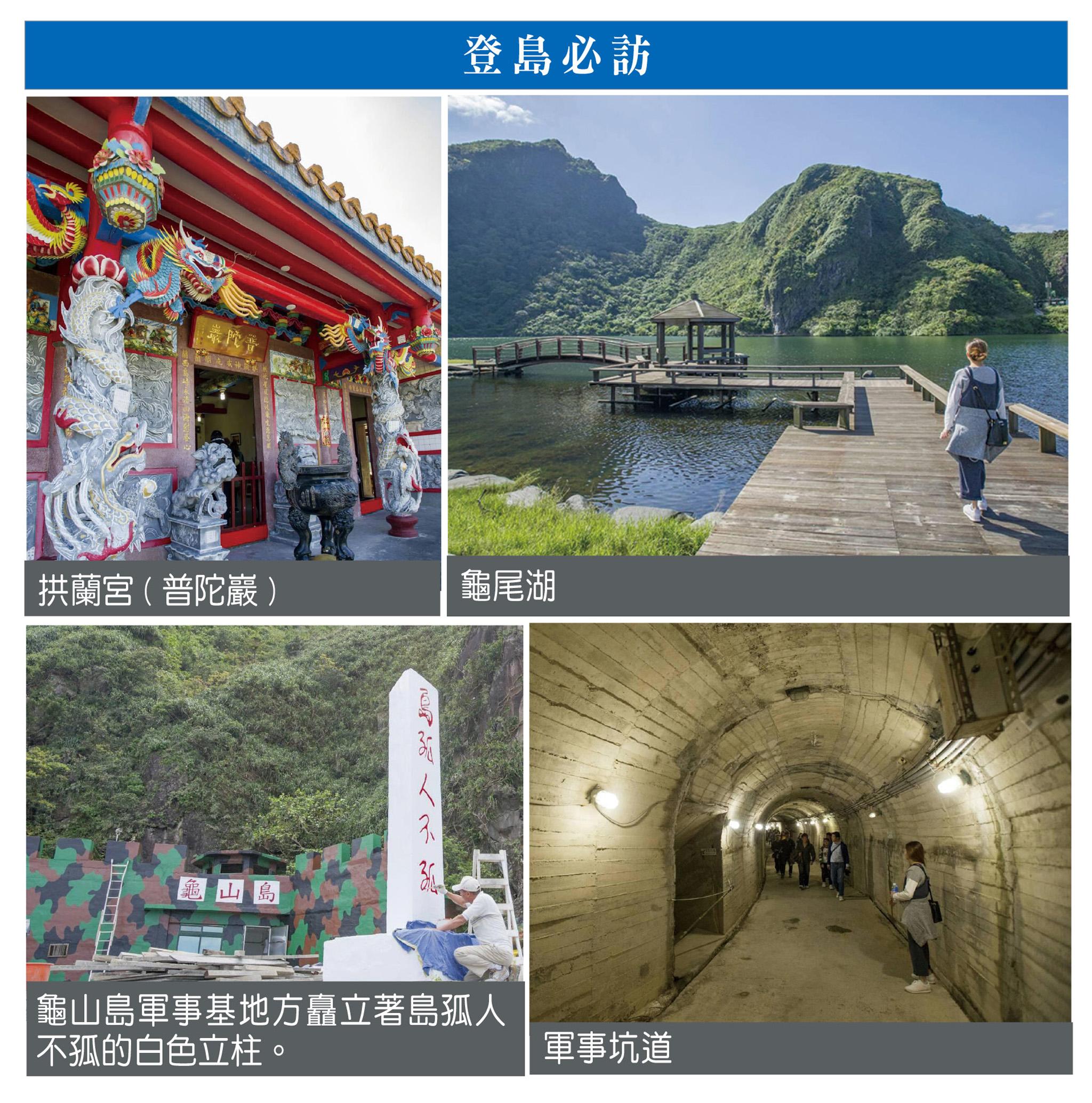登島必訪:拱蘭宮(左上)、龜尾湖(右上)、基地外豎立著島孤人不孤的白色立柱(左下)、軍事坑道(右下)。