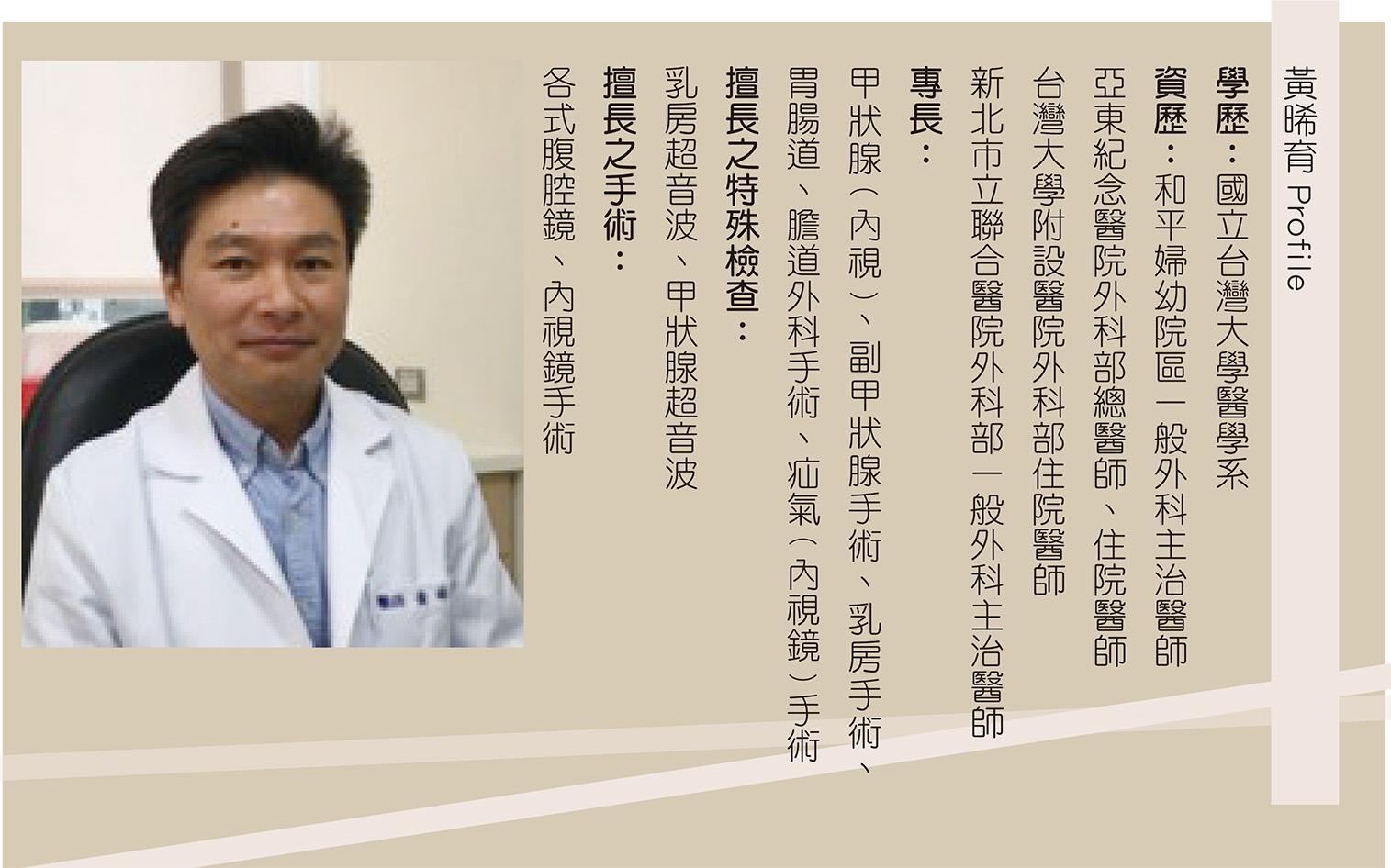 黃晞育醫師小檔案。