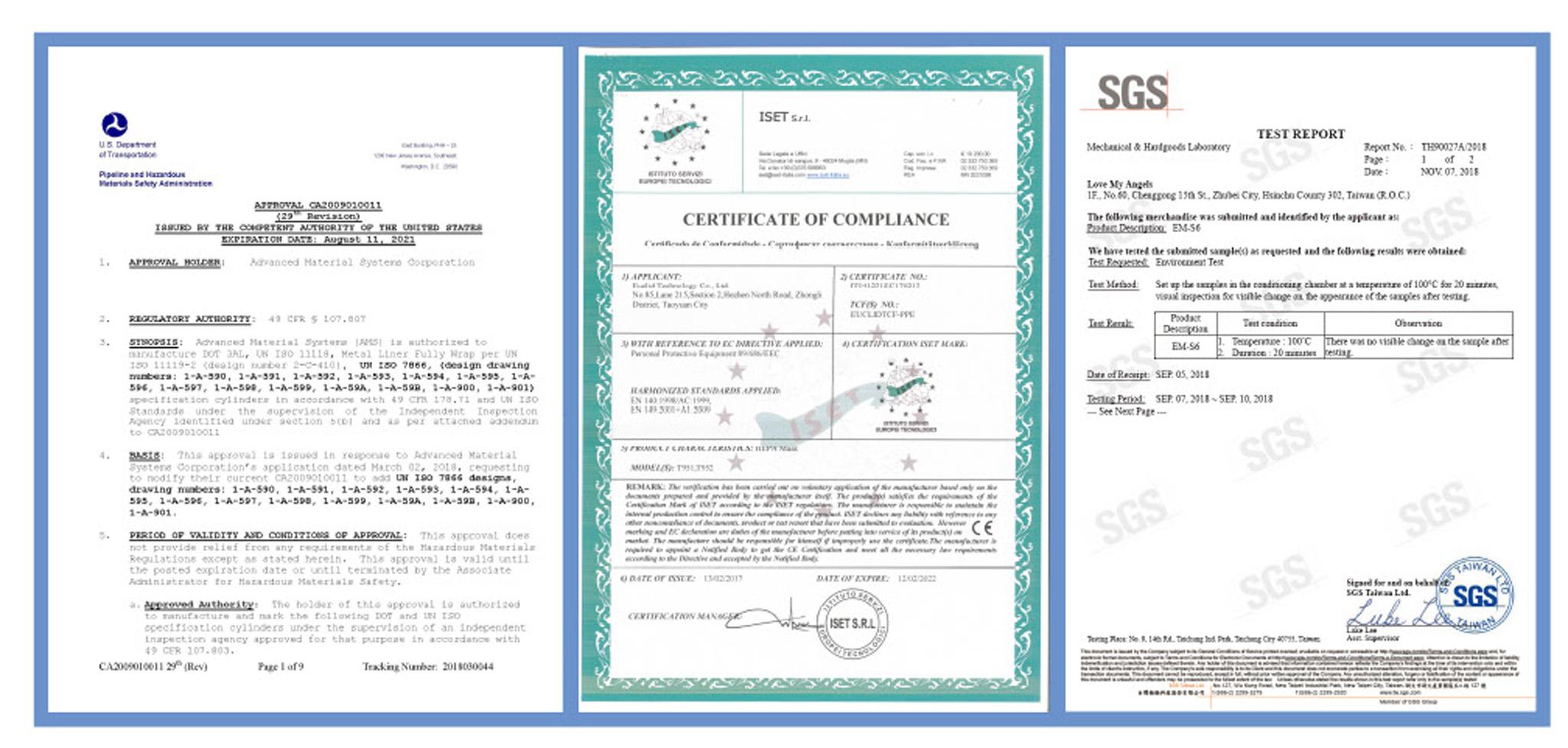 羅曼安佐「火災防煙面罩 」通過多項專業認證,包括美國運輸部、CE及SGS等認證。