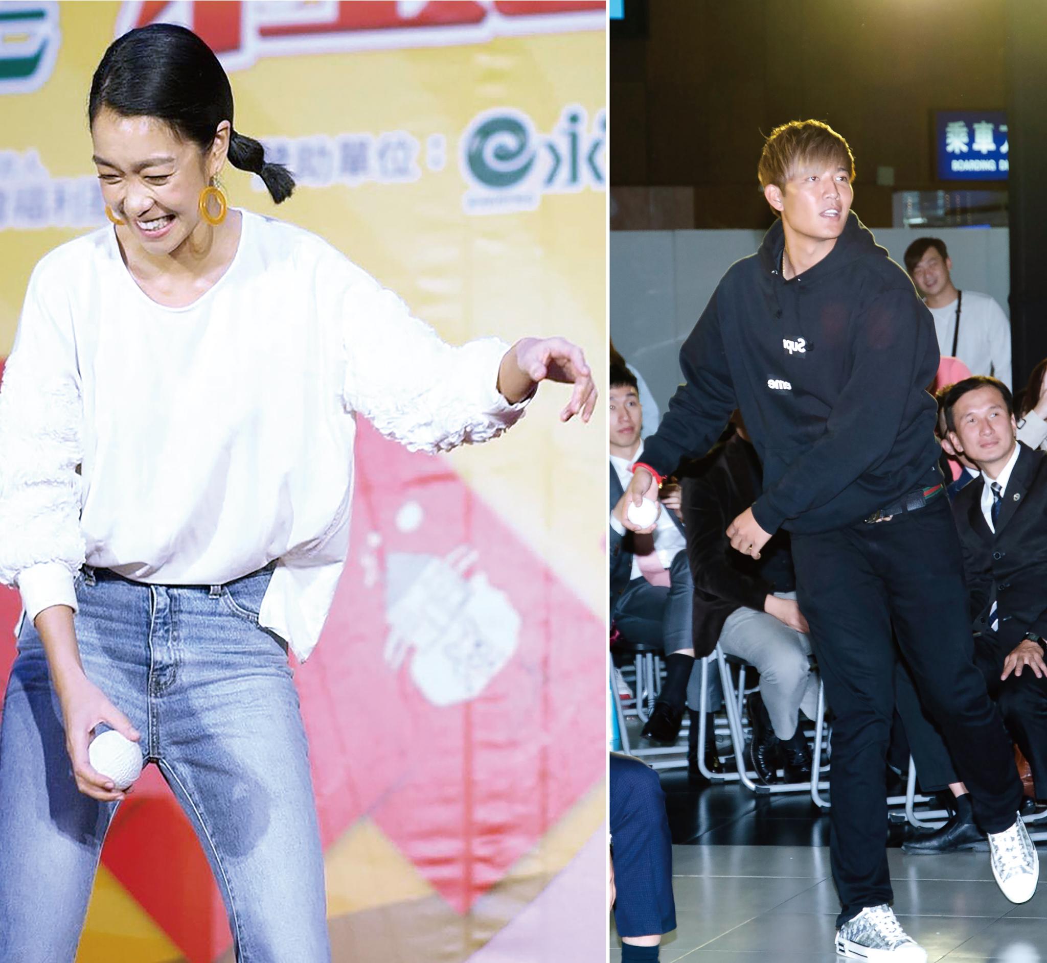 王維中(右)、李霈瑜(左)一起為「財團法人高雄市私立希恩之家」的個案小星星,圓滿完成「超神準—絕對命中組」趣味競賽。