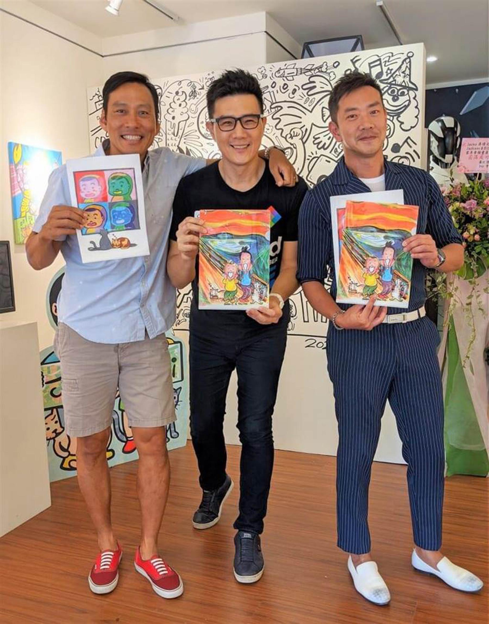 江俊翰(右起)、蔣偉文、艾力克斯開心同框。(艾迪昇傳播提供)