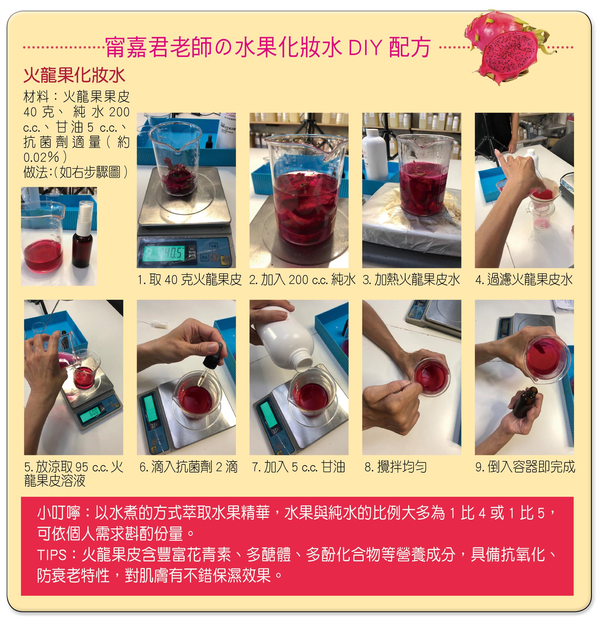甯嘉君老師親自示範DIY火龍果化妝水。