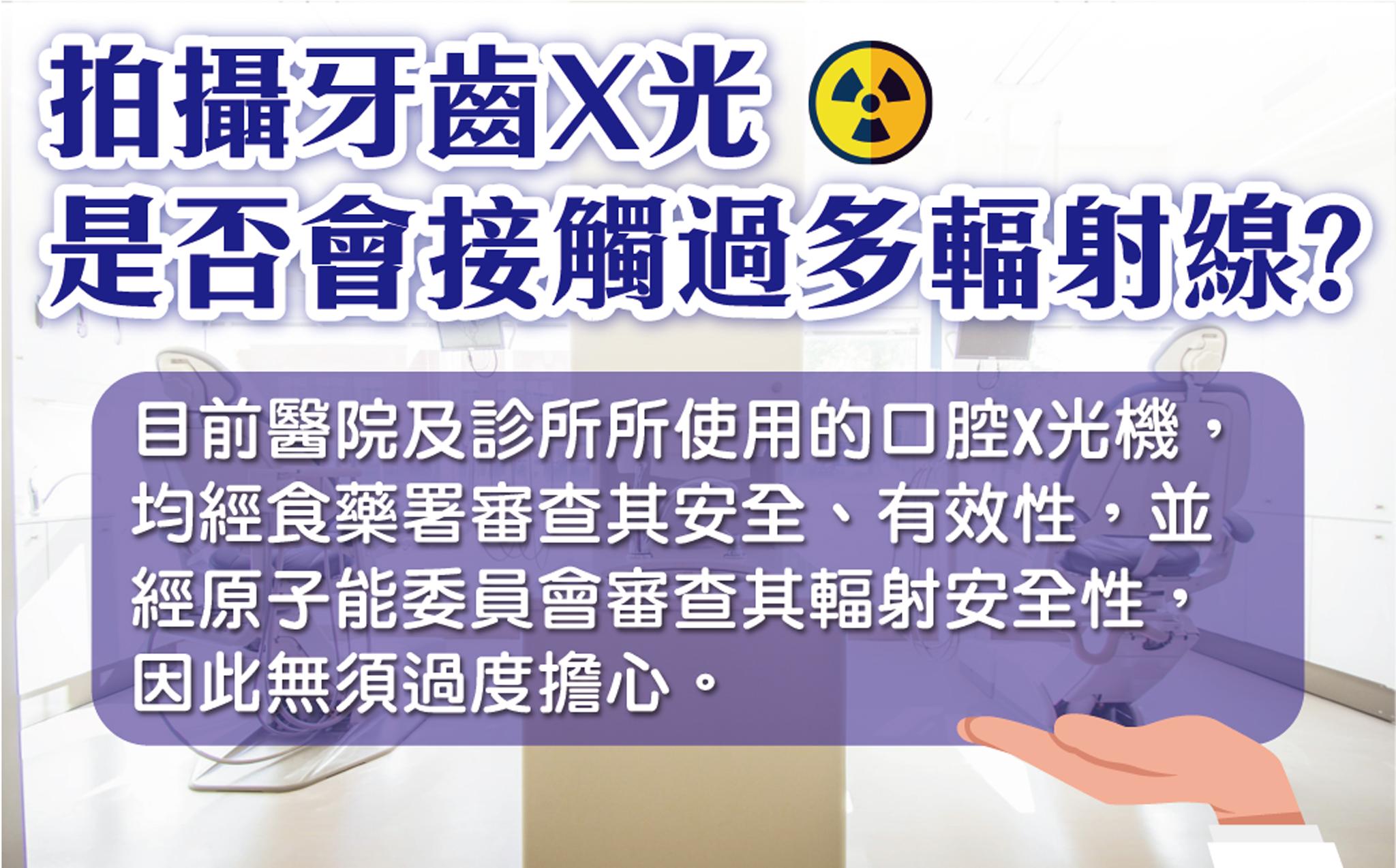 目前醫療院所使用的口腔X光機皆通過安全檢測,無須擔心輻射安全性。