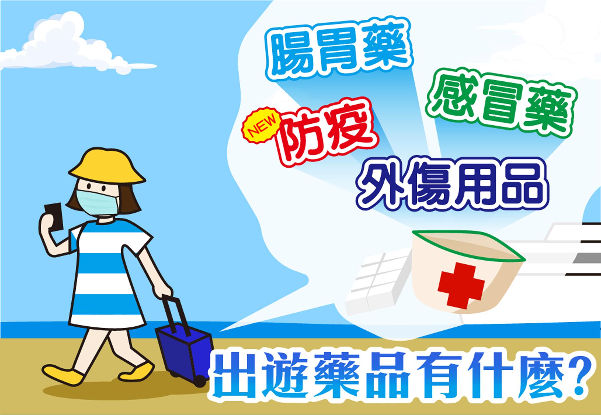 出遊常備藥品:腸胃藥、感冒藥、防疫、外傷用品。